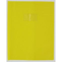 Protege-cahier PVC 15/100ème - Porte étiq. - 24 x 32cm - JAUNE