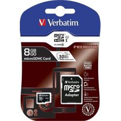 Carte MicroSDHC   8Go - Classe 10 - VERBATIM  + adaptateur