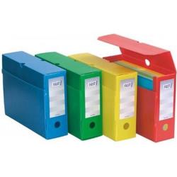 Boite archive PVC FAST 33x25cm - Pliable - Dos:10cm - JAUNE