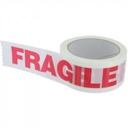 Ruban adhésif 50mm x 100m - Fond blanc écriture rouge - Personnalisé