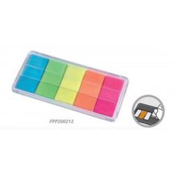 Index Marque-page Fluo - 20 x 44mm - Lot de 100 - 5 couleurs