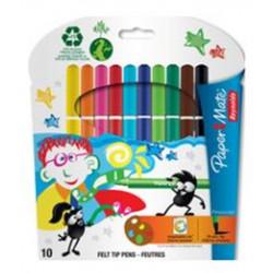 Feutre Couleur PAPERMATE lavable Pinsocolor Pte pinceau - 10 coul.
