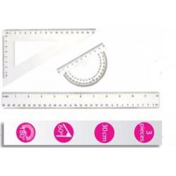 Kit Géométrie ULMANN (1 Règle 30cm + 1 Equerre  60° + Rapporteur)