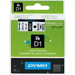 Ruban DYMO D1 - 12mm Noir/Blanc pour titreuse - 45013 (7 m)