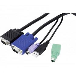 Kit de câbles KVM combiné Type E3 Mixte USB+PS/2 - 3.00m