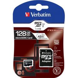 Carte mémoire MicroSDXC 128Go - Classe 10 - VERBATIM  + adaptateur