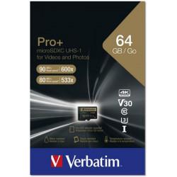 Carte mémoire MicroSDHC  64Go - 4K - VERBATIM + adaptateur