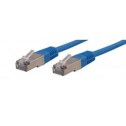 Cordon patch blindé Cat. 6 S/FTP cuivre 250 Mhz 1m - bleu