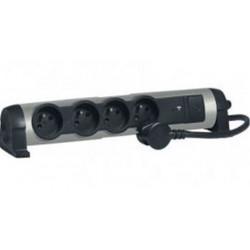Rallonge Multiprises multimédia parafoudre USB 2.4A+Charg. induction
