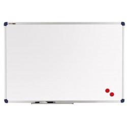 Tableau blanc  90 x 120 cm laqué magnétique - Cadre alu + auget