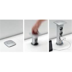 Plug Prise pour bureau ASTRO - Finition Aluminium