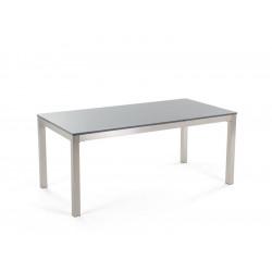 Table poly. rectangulaire 160x80 - Plateau Gris - Pieds  Aluminium