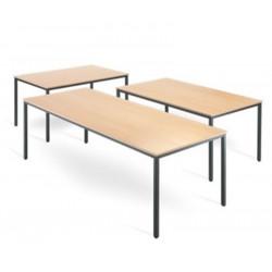 Table poly. rectangulaire 200x100 - Plateau Gris - Pieds  Aluminium