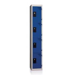 Casier suivant 4 cases, gris bleu, HT180 x L40 x P50 cm - Moraillon