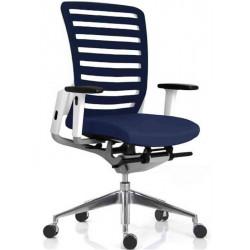 Fauteuil Collaborateur E8 Cadre blanc / stripes et assise Bleu