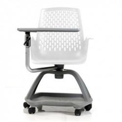 Chaise de Formation REPEAT Coque nue et assise Blanche - Socle Gris