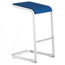 Tabouret haut Lets sit peitement blanc assise bleue