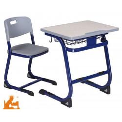 Table Scolaire Bleu & Grise 70 x 50cm  H 64 cm - T4 (CP / CE1)