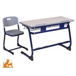 Table Scolaire Biplace Bleu/grise - 120 x 50cm - 76 cm T6 - CM2/LYCEE