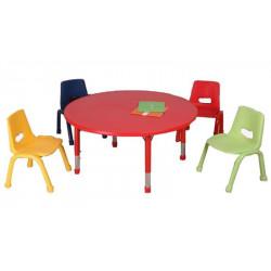 Table matern. ajust. PVC/Mélam. Ronde (diam : 105 cm - H: 37 à 76cm)