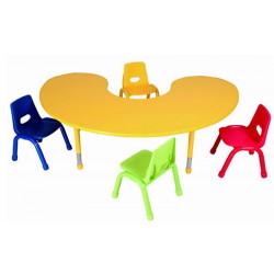 Table matern. ajust. PVC Haricot - Pieds métal (180x122 H 37 à 62cm)