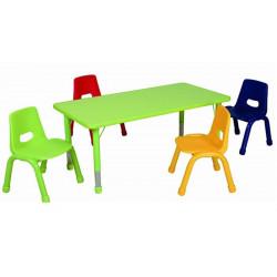 Table matern. ajust. PVC Rectangle -Pieds métal (120x60  H37 à 62cm)