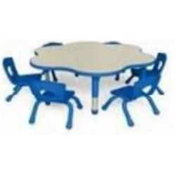 Table matern. ajust. PVC Fleur -(diam : 120 cm - H: 37 à 76cm)