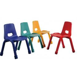Chaise maternelle coque plastique - pieds métal - assise H 30cm - T2