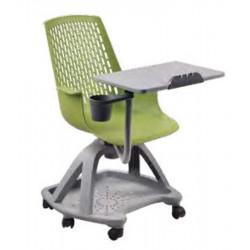 Chaise Scolaire Vert & Grise à roulettes + Tablette - H assise 44cm