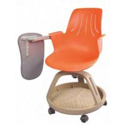 Chaise Scolaire Orang & Grise à roulettes + Tablette - H assise 40cm