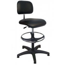 Chaise haute vinyle noir sur mousse hte densité + repose-pieds
