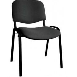 Chaise Visiteur ISO Classic - 4 pieds - Tissu Cagliari NOIR