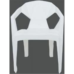 Chaise fauteuil avec larges accourdoirs - Blanc