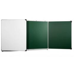 Tableau triptyque 120 x 200 cm mixtes verts / blancs encardement alu