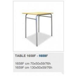 Table Scolaire 2 places en bois sans casier (130 x 50 x 76 cm) - T6