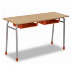 Table Scolaire 2 places en bois sans casier (130 x 50 x 75 cm) - T6