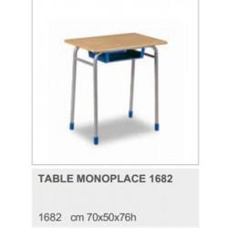 Table Scolaire Bois Stratifié Hêtre 70 x 50 cm  H 76cm T6 CM2-Lycée