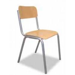 Chaise Scolaire Assise Hêtre Multiplis - Pieds tube Ø28 - H 46 cm  T6