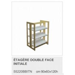 Etagère double Face en bois - Départ - 3 niveaux - L90 x 60 x H120 cm